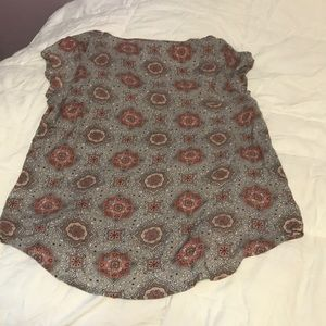 Rose & Thyme Tops - Rose & Thyme Rayon Tan Patterned top